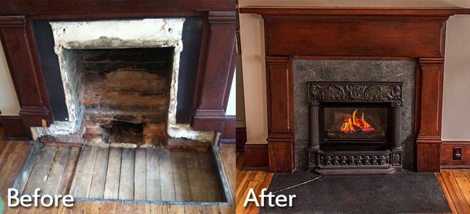 gas fireplace installation before and after