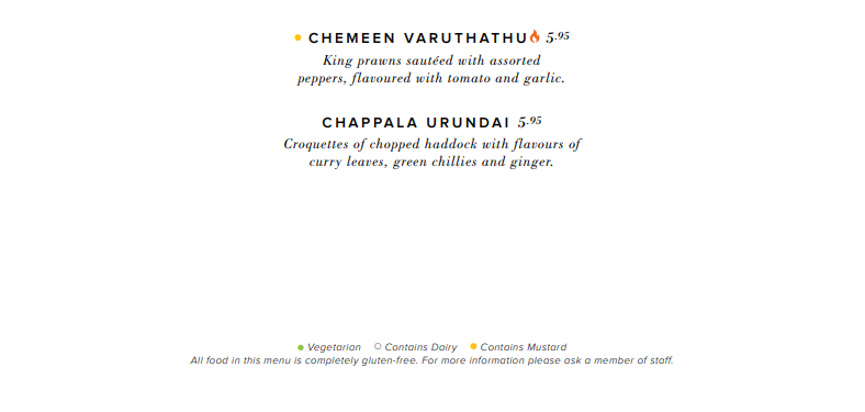 Close Look at Indian Restaurant Glasgow Dakhin's Menu highlighting allergens in dishes