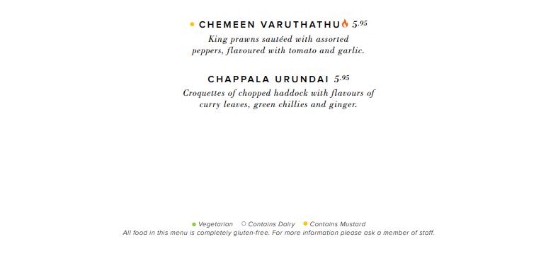 Close Look at Indian Restaurant Glasgow Dakhin's Menu highlighting allergens in dishes